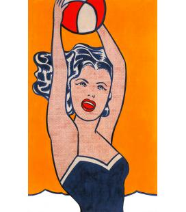 Roy Fox Lichtenstein - Ragazza con palla. Stampa su tela