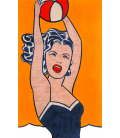 Roy Fox Lichtenstein - Girl with ball. Printing on canvas