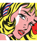 Roy Fox Lichtenstein - Ragazza con il nastro nei capelli. Stampa su tela