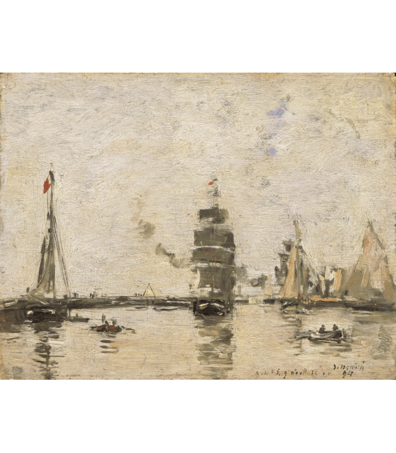 Boudin Eugène - Boats in the port of Trouville. Printing on canvas