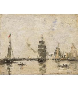 Boudin Eugène - Barche nel porto di Trouville. Stampa su tela
