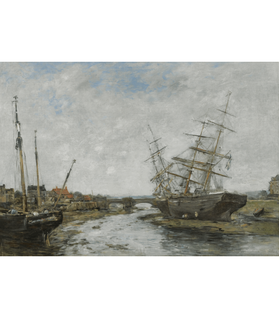 Boudin Eugène - Bassa marea a La Touques. Stampa su tela