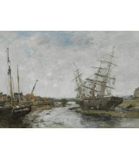 Boudin Eugène - Low tide at La Touques. Printing on canvas