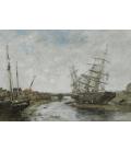 Boudin Eugène - Low tide at La Touques. Printing on canvas