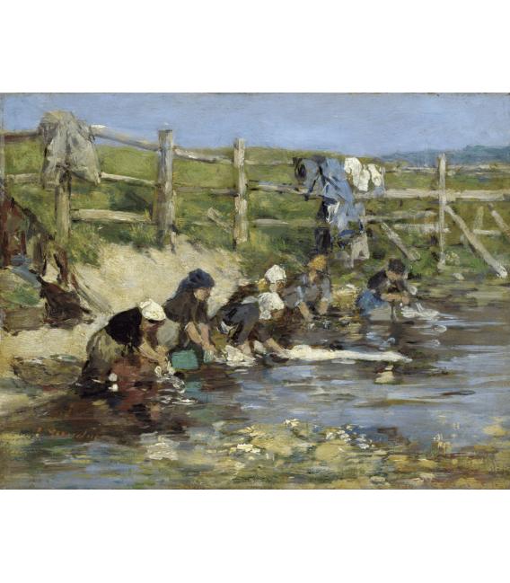 Boudin Eugène - Lavandaie sulla riva del fiume. Stampa su tela