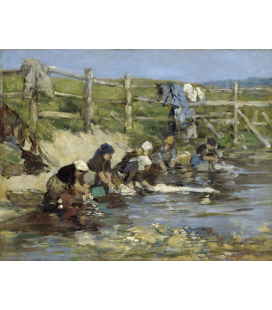 Boudin Eugène - Laundresses on the Banks of the river. Printing on canvas