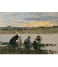Boudin Eugène - Laundresses on the Banks of the river II. Printing on canvas