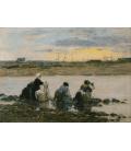 Boudin Eugène - Lavandaie sulla riva del fiume II. Stampa su tela
