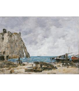 Boudin Eugène - Spiaggia di Étretat. Stampa su tela