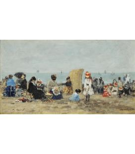 Boudin Eugène - Spiaggia di Trouville. Stampa su tela