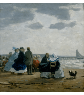 Boudin Eugène - Sulla spiaggia. Stampa su tela