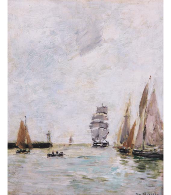 Boudin Eugène - Trouville, moli, alta marea. Stampa su tela