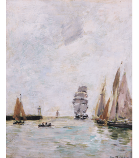 Boudin Eugène - Trouville, piers, high tide. Printing on canvas