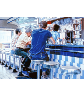 Ralph Goings - Tiled Lunch Counter. Printing on canvas