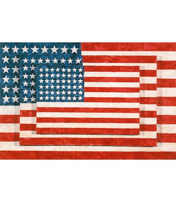 Jasper Johns - Three Flags. Printing on canvas