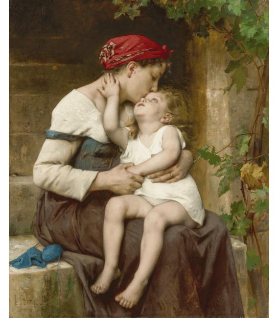 Léon Bazile Perrault - Madre con bambino. Stampa su tela