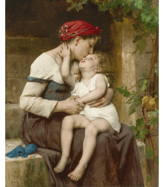 Léon Bazile Perrault - Mother with Child. Printing on canvas