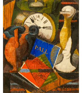 Diego Rivera - Composizione con orologio. Stampa su tela
