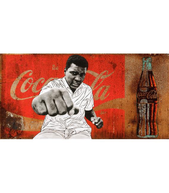 Pakpoom Silaphan - Alì tira pugni sulla Coca Cola. Stampa su tela