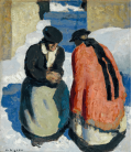 Alfons Walde - Meeting in Kirchweg. Printing on canvas