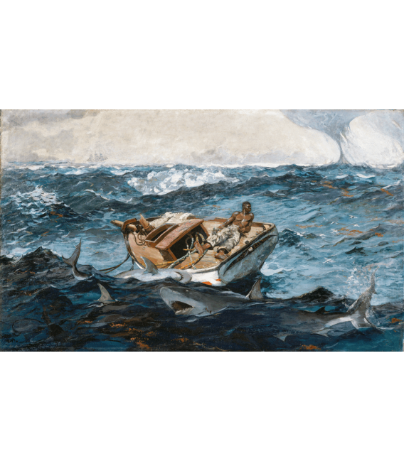 Winslow Homer. Helmsman of the stormy ship. Printing on canvas