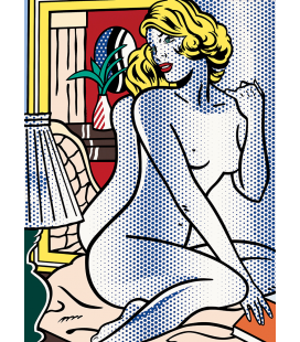 Roy Fox Lichtenstein - Blue Nude. Printing on canvas
