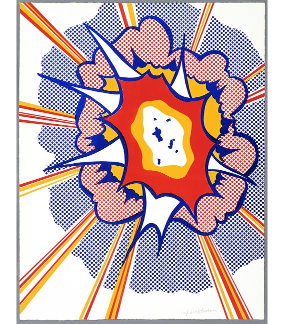 Roy Fox Lichtenstein - Explosion. Printing on canvas