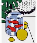 Roy Fox Lichtenstein - Natura morta con pesci rossi dipingendo un pallina da golf. Stampa su tela