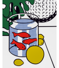 Roy Fox Lichtenstein - Still Life with Goldfish Bowl and Painting of a Golf Ball. Printing on canvas