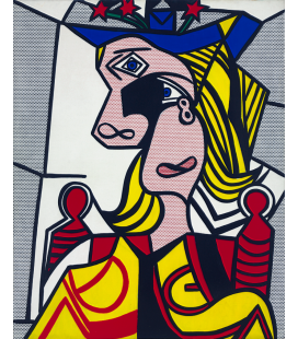Roy Fox Lichtenstein - Woman with Flowered Hat. Printing on canvas