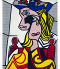 Roy Fox Lichtenstein - Woman with Flowered Hat. Printing on canvas