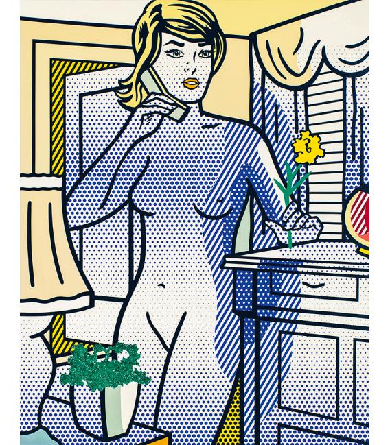 Roy Fox Lichtenstein - Nude with Yellow Flower. Printing on canvas