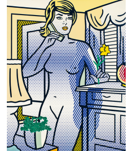 Roy Fox Lichtenstein - Nude with Yellow Flower. Printing on canvas