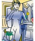 Roy Fox Lichtenstein - Nudo con fiore giallo. Stampa su tela