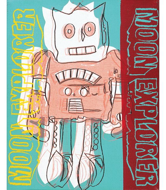 Andy Warhol - Moon Explorer. Stampa su tela