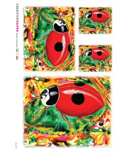 Carta di riso Decoupage: Coccinelle Dipinte
