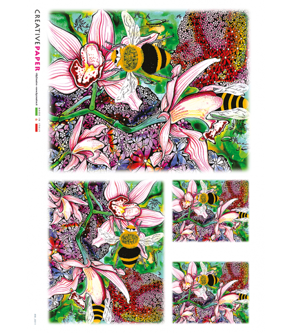 Decoupage rice paper: Bees on Flowers