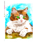Decoupage rice paper: Painted Cat