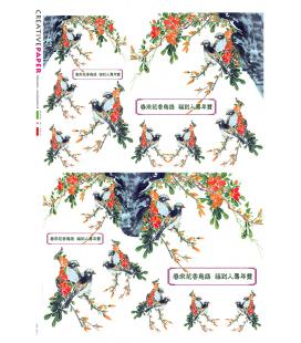 Carta di riso Decoupage: Uccelli e Fiori Giapponesi