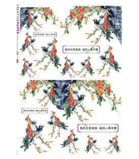 Decoupage rice paper: Japanese Birds and Flowers
