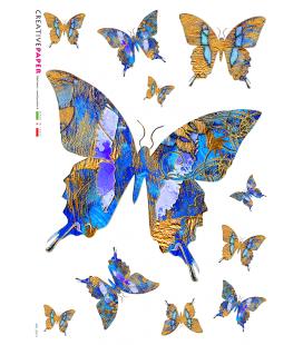 Carta di riso Decoupage: Farfalle Blu e Gialle