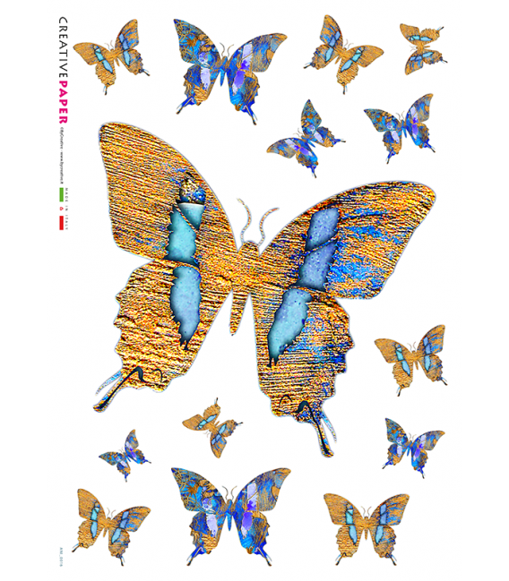 Decoupage rice paper: Butterflies Yellow and Blue