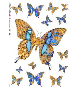 Carta di riso Decoupage: Farfalle Gialle e Blu
