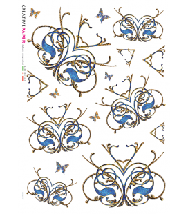 Carta di riso Decoupage: Ghirigori Blu e Farfalle