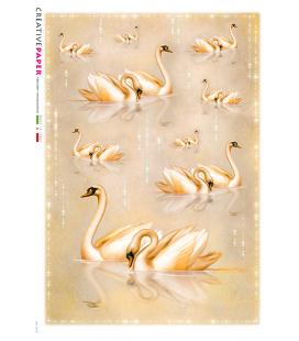 Carta di riso Decoupage: Cigni Rosa