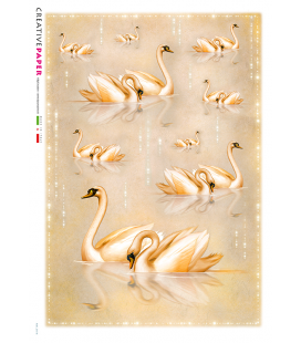 Decoupage rice paper:Pink Swans