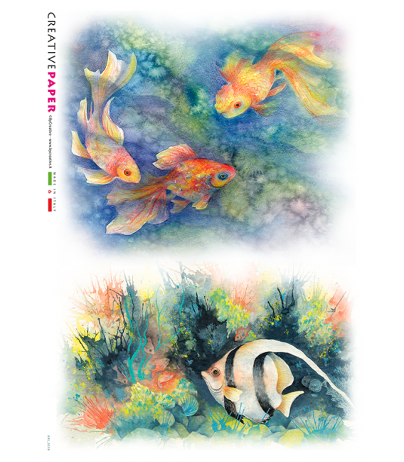 Decoupage rice paper: Fishes, Watercolor