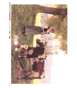 Carta di riso Decoupage: Mucche al pascolo con Contadina