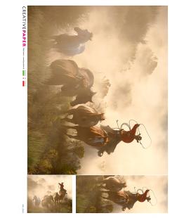 Carta di riso Decoupage: Cavalli con Cowboy