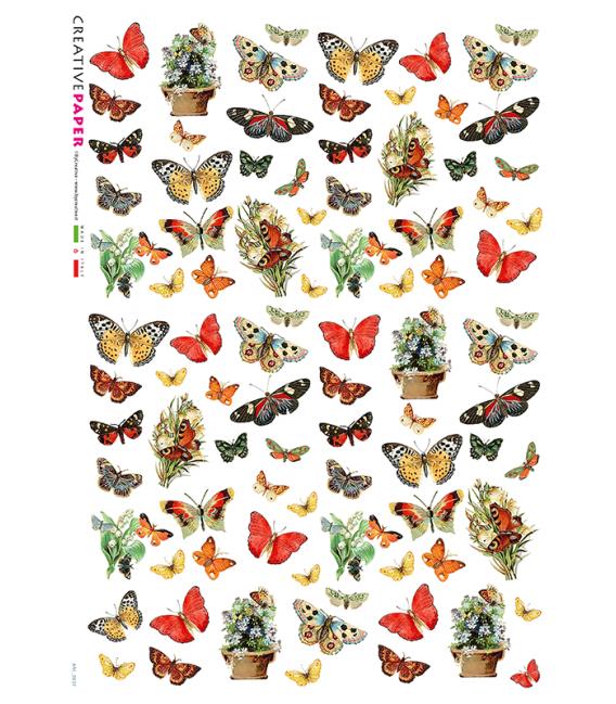 Decoupage rice paper: Butterflies and Flower Pot